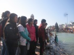 15th Jan 2015 Kids enjoying the view of river Ganga and the holy dip.